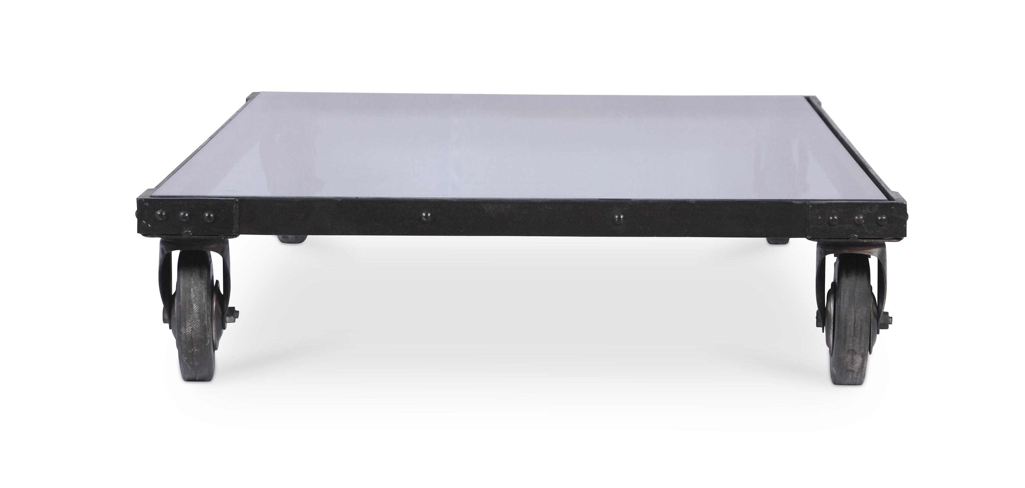 vintage industrial couchtisch stahl und glas. Black Bedroom Furniture Sets. Home Design Ideas