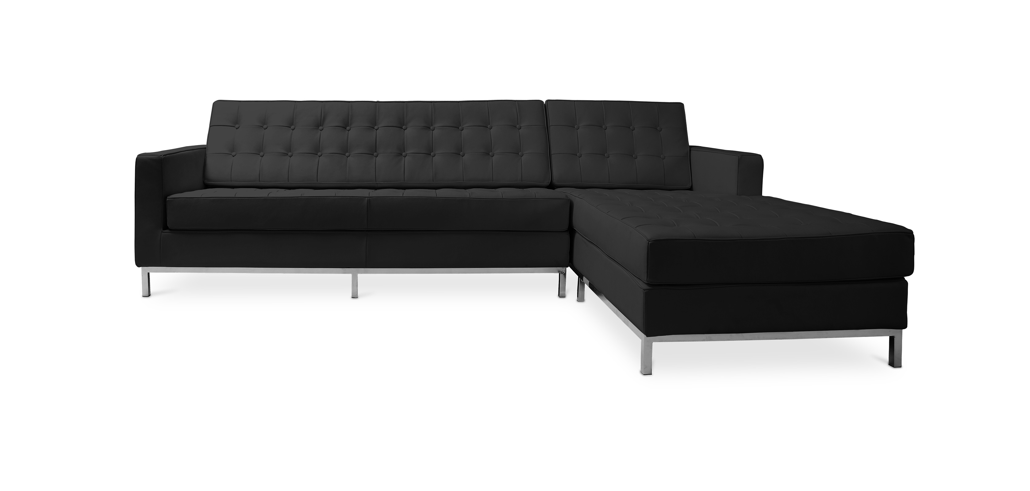 ecksofa florence knoll rechter winkel leder. Black Bedroom Furniture Sets. Home Design Ideas