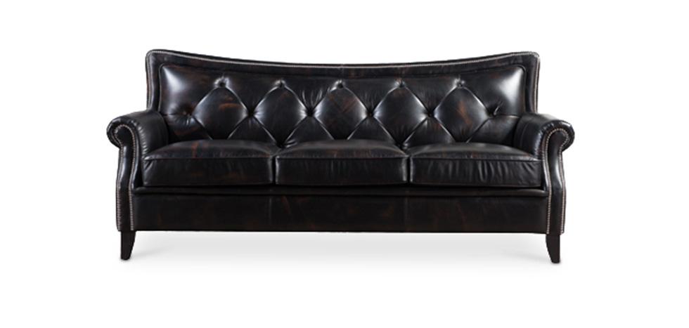 getuftetes vintage 3 sitzer sofa aus schwarzem leder. Black Bedroom Furniture Sets. Home Design Ideas